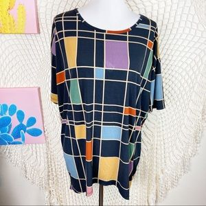 Lularoe Sqaure 3/4 sleeve multicolor tunic Small